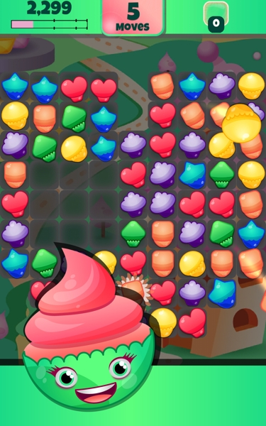Cupcake Crush match-3 game screenshot